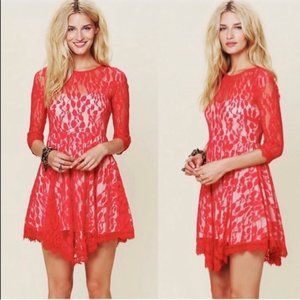 Free People Womens Dress Mini Floral Lace Mesh Ove